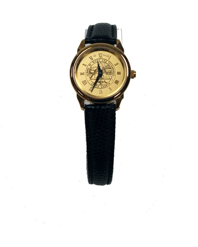 Watch Womens Seal Gold Face Black Band