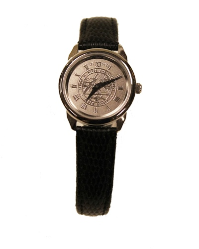 Watch Womens Seal Silver Face Black Band